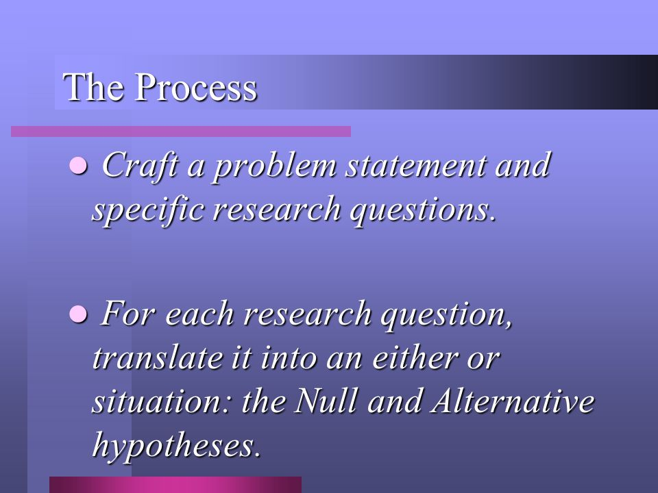 The Process Craft a problem statement and specific research questions.