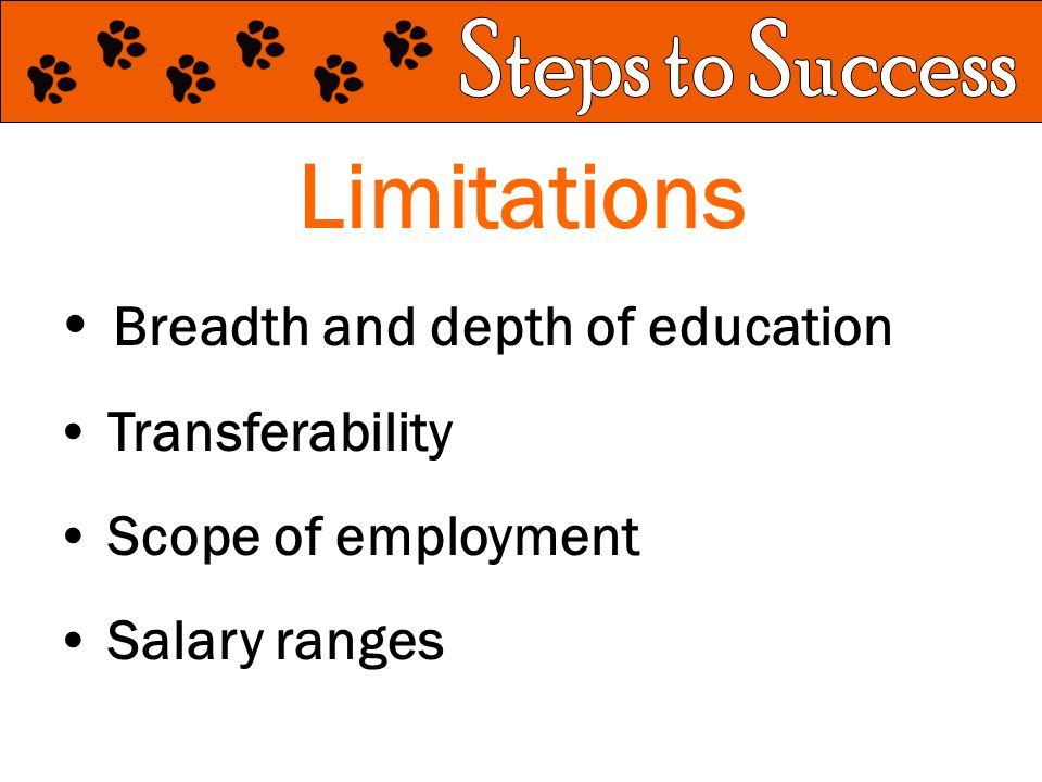 Limitations Breadth and depth of education Transferability Scope of employment Salary ranges