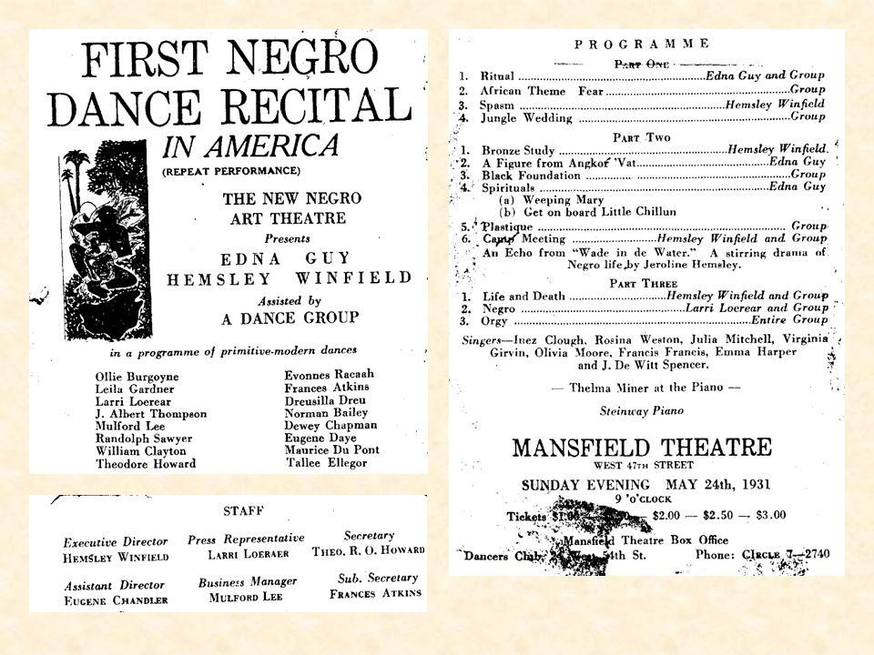 America's first African-American modern dancer: Hemsley Winfield