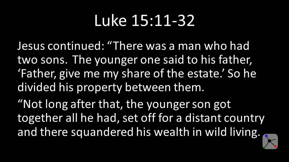 Luke 15:11-32 Jesus continued: There was a man who had two sons.