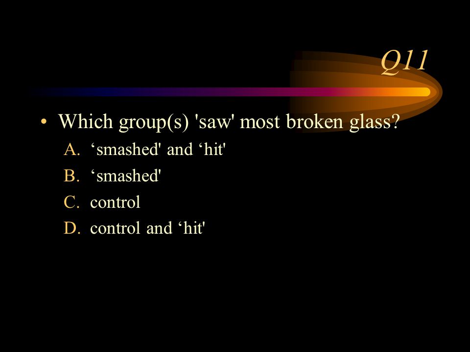 Q10 How long was left between showing the films and asking about the broken glass.