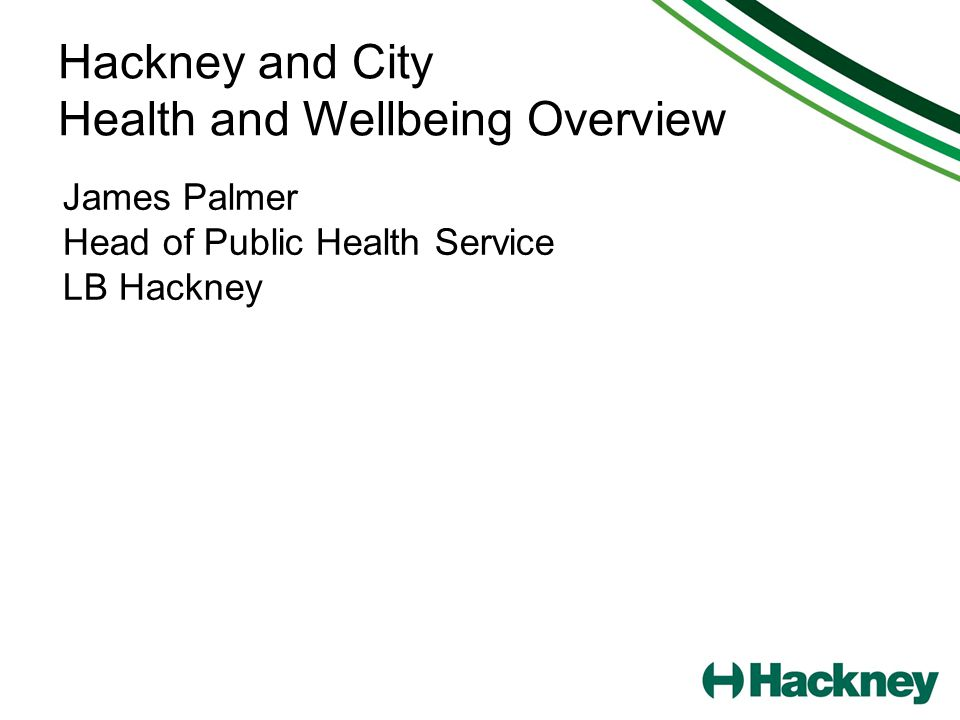 Hackney and City Health and Wellbeing Overview James Palmer Head of Public Health Service LB Hackney