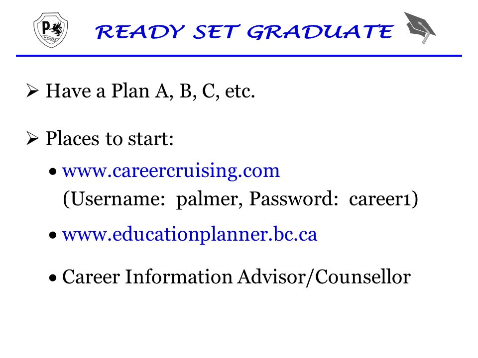  Have a Plan A, B, C, etc.