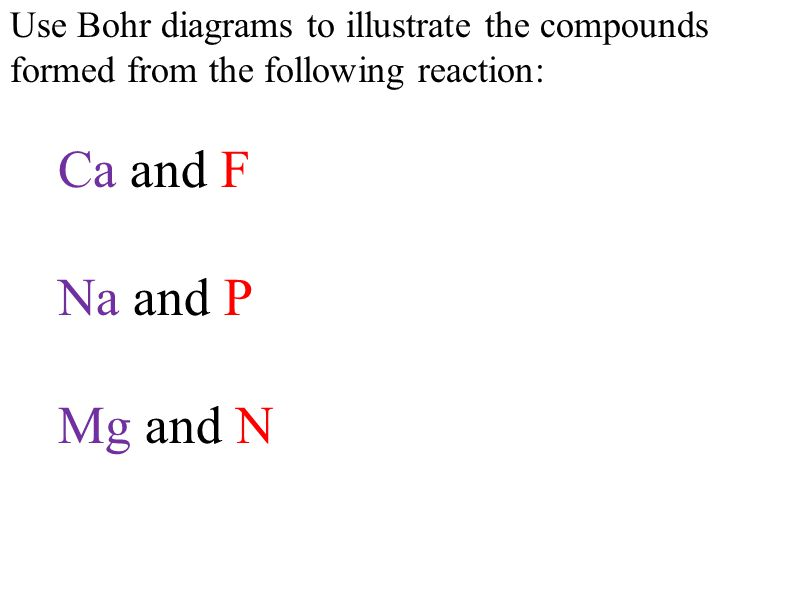Use Bohr diagrams to illustrate the compounds formed from the following reaction: Ca and F Na and P Mg and N
