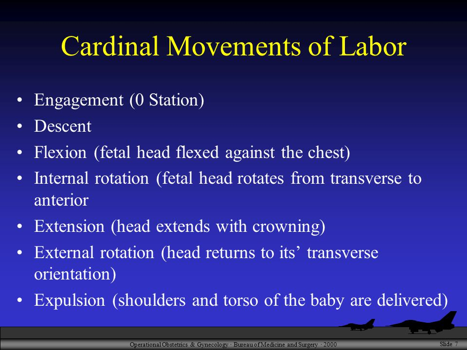Operational Obstetrics & Gynecology · Bureau of Medicine and Surgery · 2000 Slide 7 Cardinal Movements of Labor Engagement (0 Station) Descent Flexion (fetal head flexed against the chest) Internal rotation (fetal head rotates from transverse to anterior Extension (head extends with crowning) External rotation (head returns to its' transverse orientation) Expulsion (shoulders and torso of the baby are delivered)