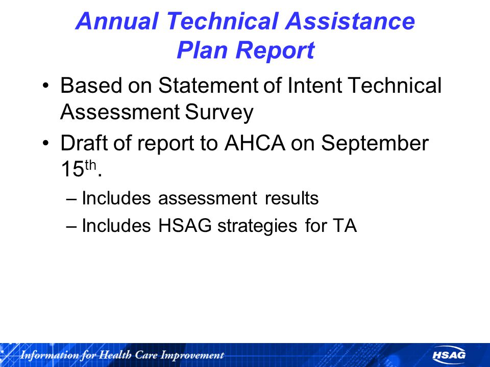 Annual Technical Assistance Plan Report Based on Statement of Intent Technical Assessment Survey Draft of report to AHCA on September 15 th.