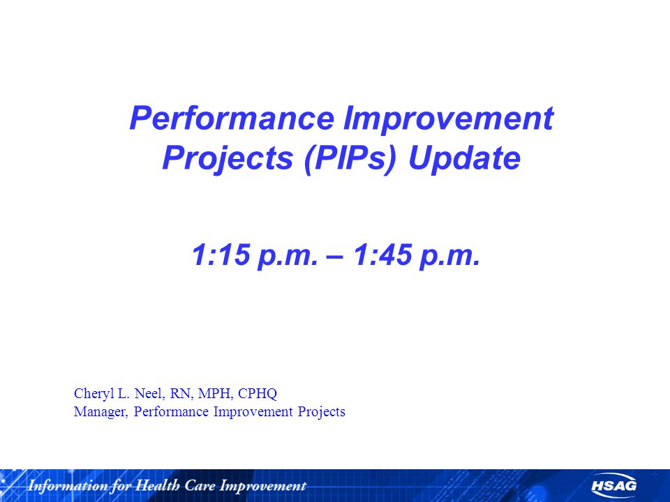 Performance Improvement Projects (PIPs) Update 1:15 p.m.