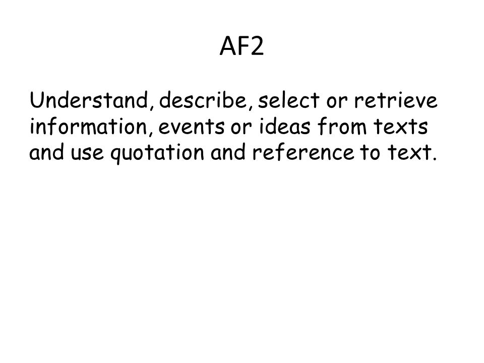AF2 Understand, describe, select or retrieve information, events or ideas from texts and use quotation and reference to text.
