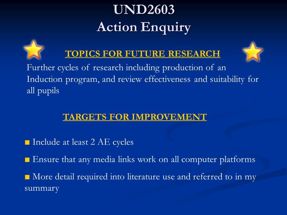UND2603 Action Enquiry KEY POINTS OF LEARNING ■ Improve my knowledge of how ICT fits into the Foundation Stage Profile ■ Liaison with the Teaching Staff to ascertain their requirements ■ Improved use of media for presenting my work ■ Greater understanding of the field of research