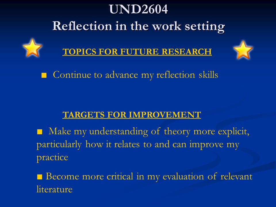 UND2604 Reflection in the work setting KEY POINTS OF LEARNING ■ Ability to express my ideas more clearly, making connections between theory and practice ■ Improved ability to take control of my own learning ■ Increased participation in the online community including better quality critical reviewing