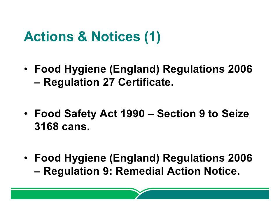 actions notices 1 food hygiene england regulations 2006 regulation 27