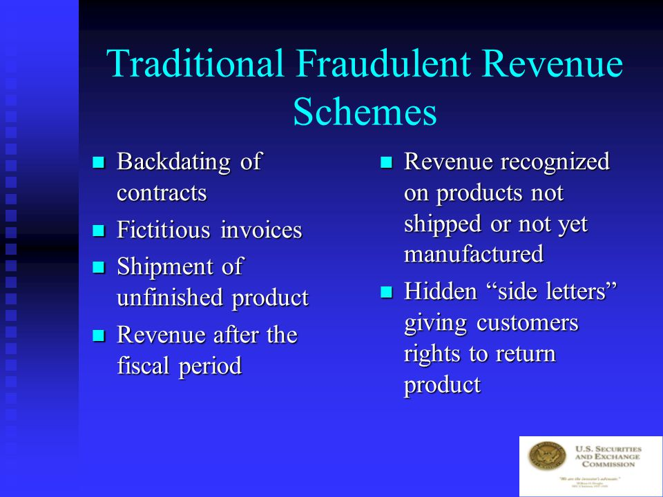 Backdating invoices fraudulently
