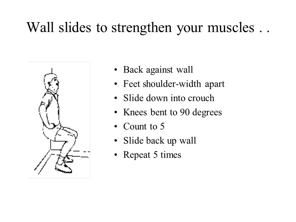 Wall slides to strengthen your muscles..