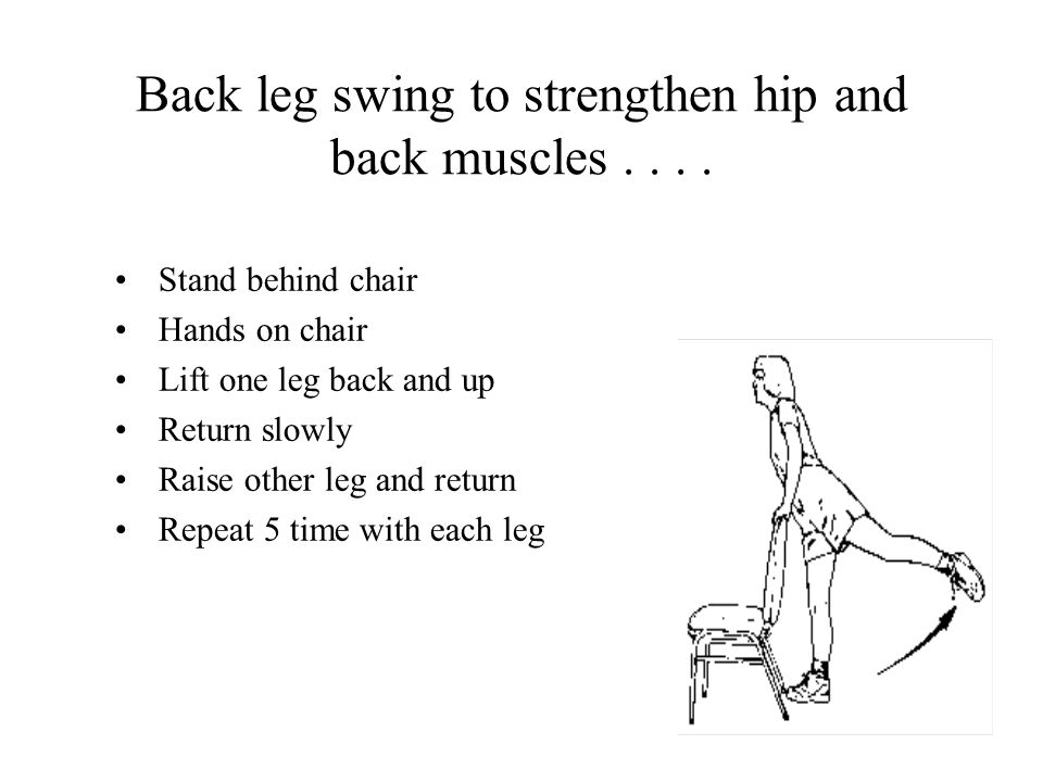 Back leg swing to strengthen hip and back muscles....