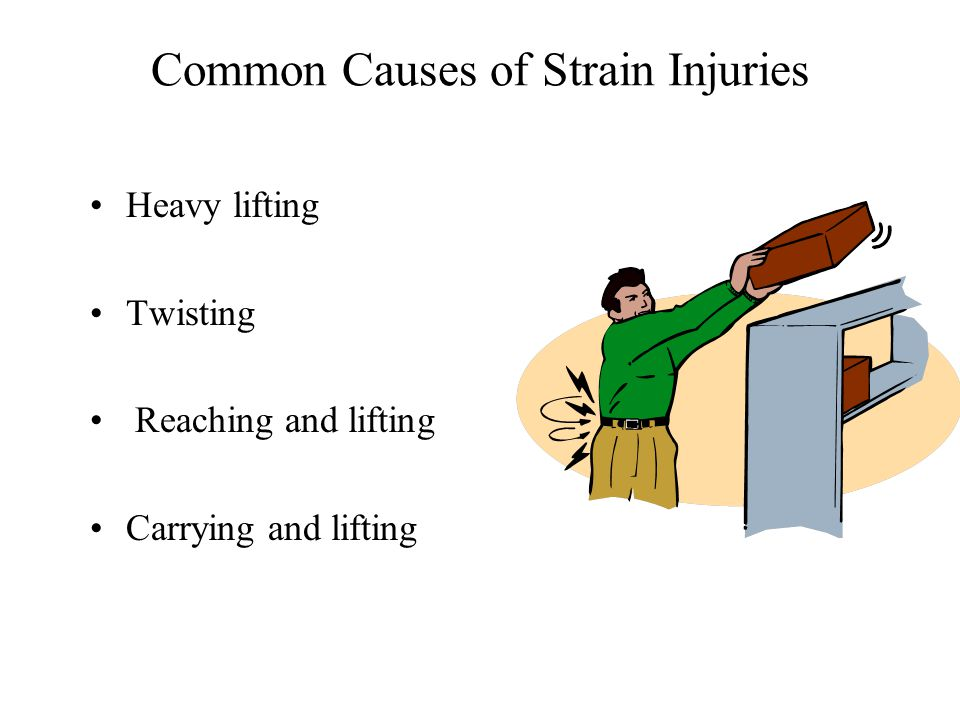 Common Causes of Strain Injuries Heavy lifting Twisting Reaching and lifting Carrying and lifting