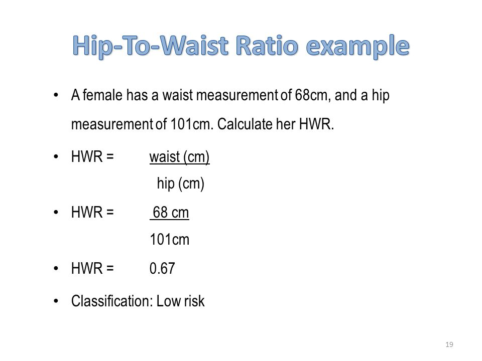 A female has a waist measurement of 68cm, and a hip measurement of 101cm.
