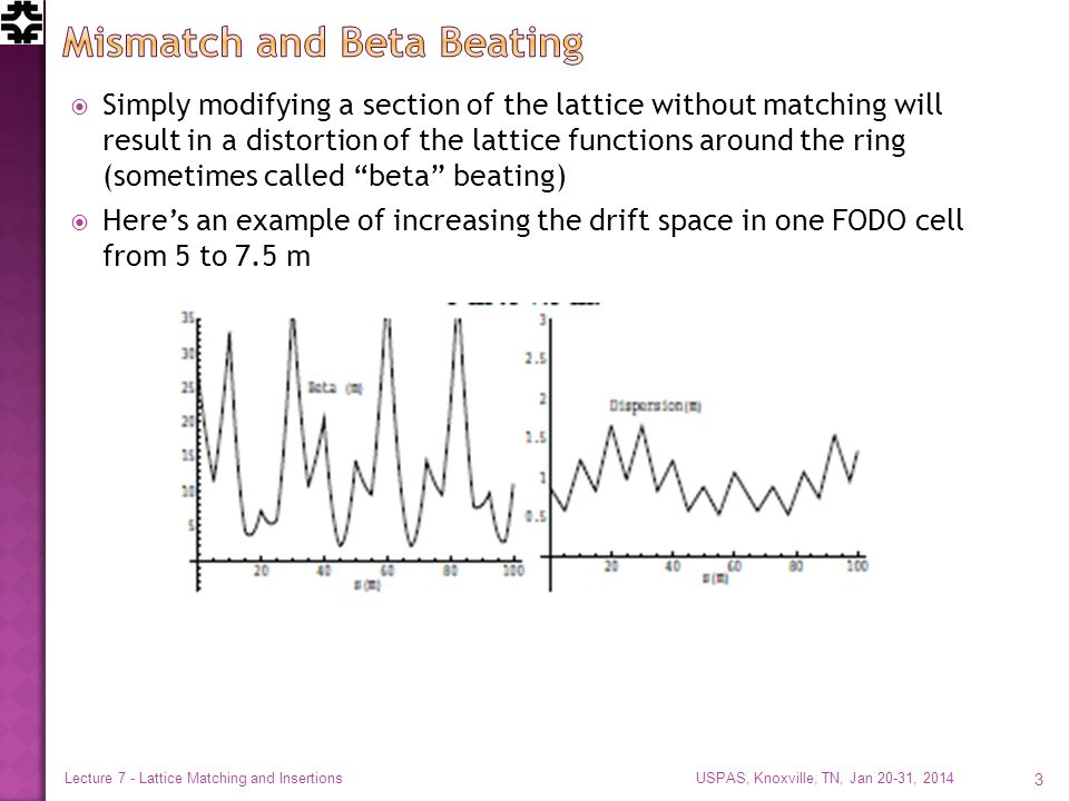  Simply modifying a section of the lattice without matching will result in a distortion of the lattice functions around the ring (sometimes called beta beating)  Here's an example of increasing the drift space in one FODO cell from 5 to 7.5 m USPAS, Knoxville, TN, Jan 20-31, 2014 Lecture 7 - Lattice Matching and Insertions 3