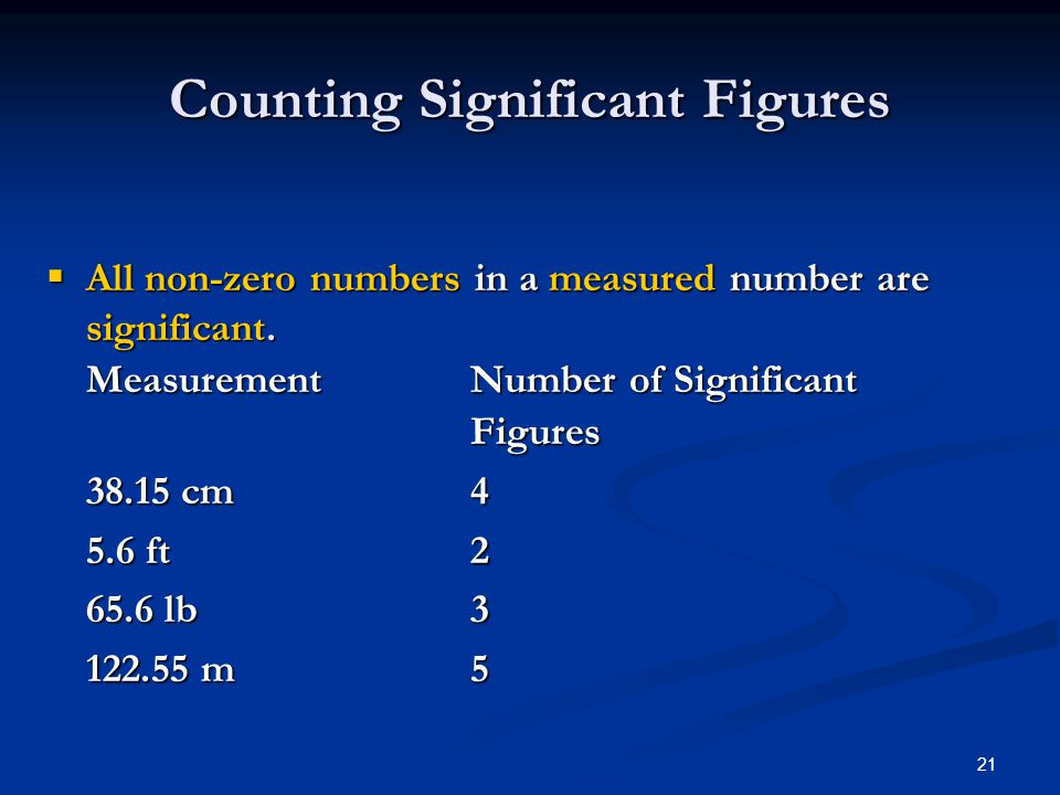 21  All non-zero numbers in a measured number are significant.