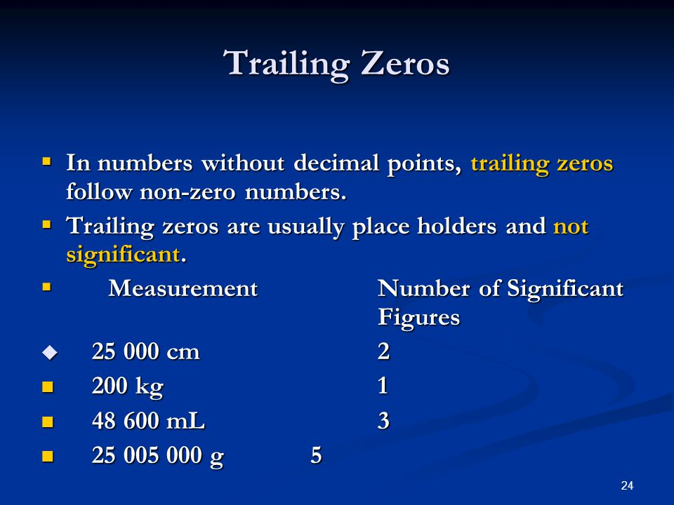 24  In numbers without decimal points, trailing zeros follow non-zero numbers.