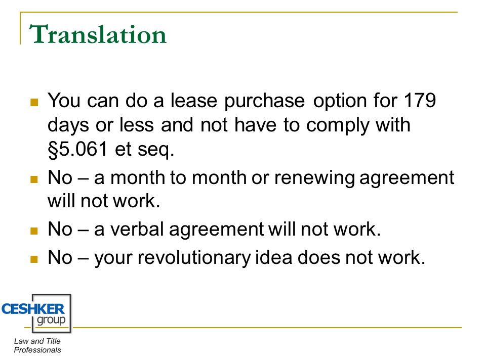 Lease Purchase Options Do Or Dont And The Alternative By T Alan