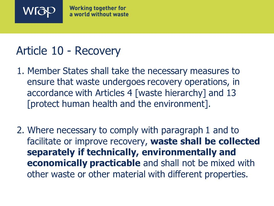 Article 10 - Recovery 1.