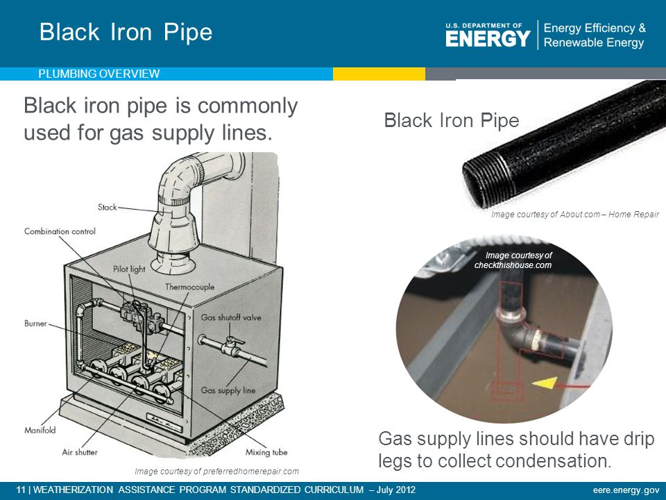 11 | WEATHERIZATION ASSISTANCE PROGRAM STANDARDIZED CURRICULUM – July 2012eere.energy.gov Image courtesy of checkthishouse.com Black iron pipe is commonly used for gas supply lines.