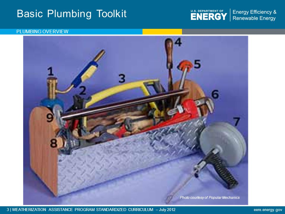 3 | WEATHERIZATION ASSISTANCE PROGRAM STANDARDIZED CURRICULUM – July 2012eere.energy.gov Basic Plumbing Toolkit Photo courtesy of Popular Mechanics PLUMBING OVERVIEW