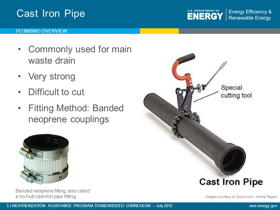 5 | WEATHERIZATION ASSISTANCE PROGRAM STANDARDIZED CURRICULUM – July 2012eere.energy.gov Cast Iron Pipe Images courtesy of About.com – Home Repair Commonly used for main waste drain Very strong Difficult to cut Fitting Method: Banded neoprene couplings Banded neoprene fitting, also called a no-hub cast iron pipe fitting.