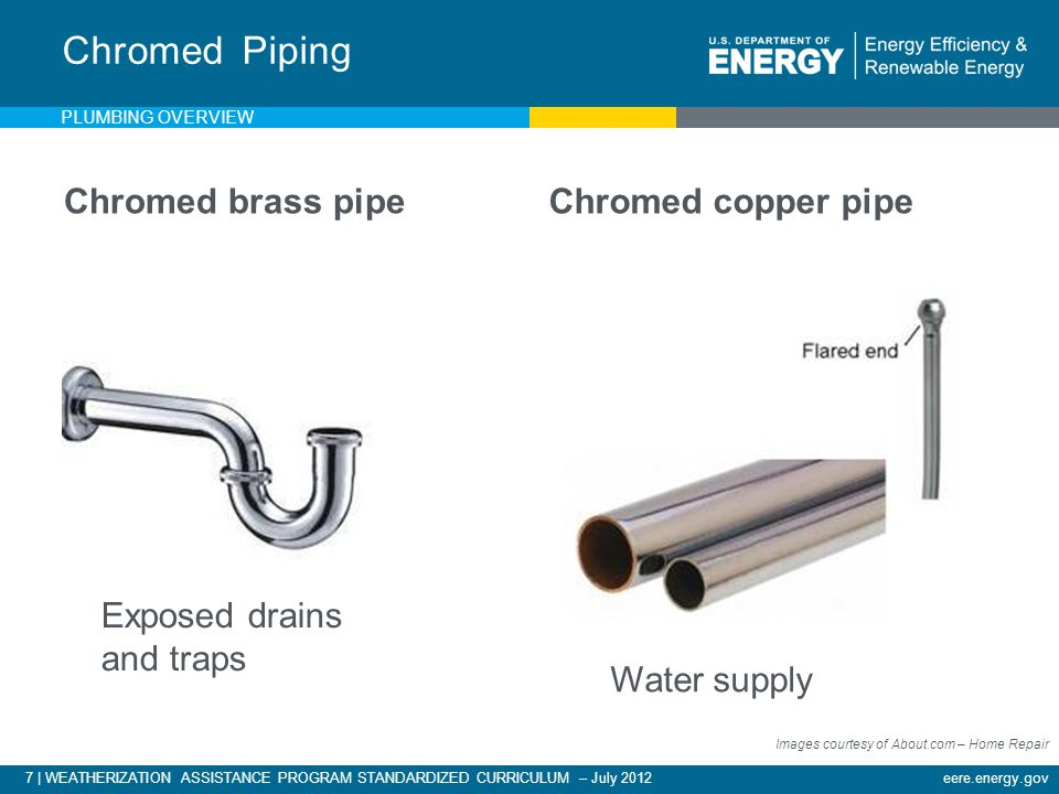 7 | WEATHERIZATION ASSISTANCE PROGRAM STANDARDIZED CURRICULUM – July 2012eere.energy.gov Chromed brass pipeChromed copper pipe Chromed Piping Exposed drains and traps Water supply Images courtesy of About.com – Home Repair PLUMBING OVERVIEW