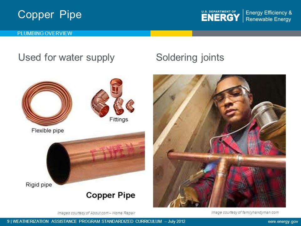 9 | WEATHERIZATION ASSISTANCE PROGRAM STANDARDIZED CURRICULUM – July 2012eere.energy.gov Used for water supplySoldering joints Copper Pipe Images courtesy of About.com – Home Repair Image courtesy of familyhandyman.com PLUMBING OVERVIEW