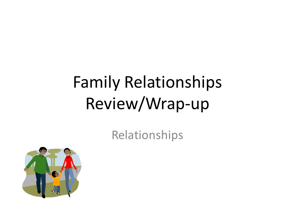 Family Relationships Review/Wrap-up Relationships