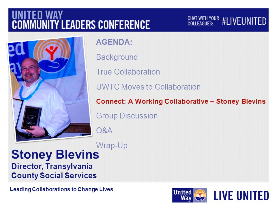 AGENDA: Background True Collaboration UWTC Moves to Collaboration Connect: A Working Collaborative – Stoney Blevins Group Discussion Q&A Wrap-Up Stoney Blevins Director, Transylvania County Social Services Leading Collaborations to Change Lives