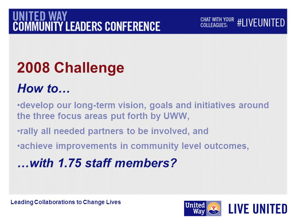 2008 Challenge Leading Collaborations to Change Lives How to… develop our long-term vision, goals and initiatives around the three focus areas put forth by UWW, rally all needed partners to be involved, and achieve improvements in community level outcomes, …with 1.75 staff members