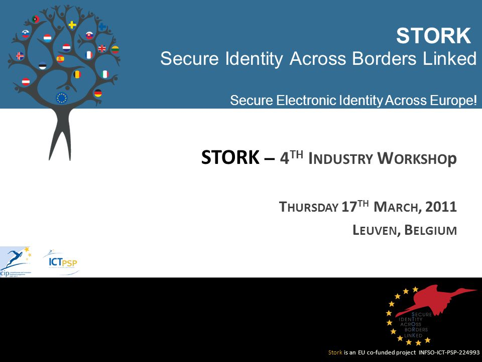 Stork is an EU co-funded project INFSO-ICT-PSP Secure Identity Across Borders Linked Secure Electronic Identity Across Europe.