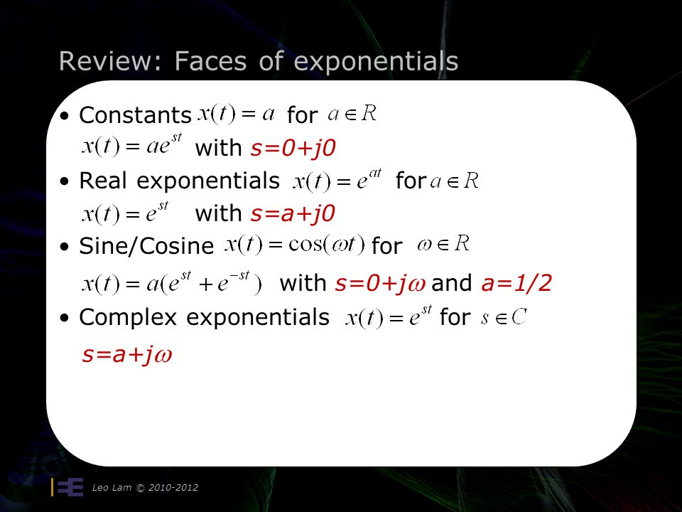 Review: Faces of exponentials Leo Lam © Constants for with s=0+j0 Real exponentials for with s=a+j0 Sine/Cosine for with s=0+j  and a=1/2 Complex exponentials for s=a+j 