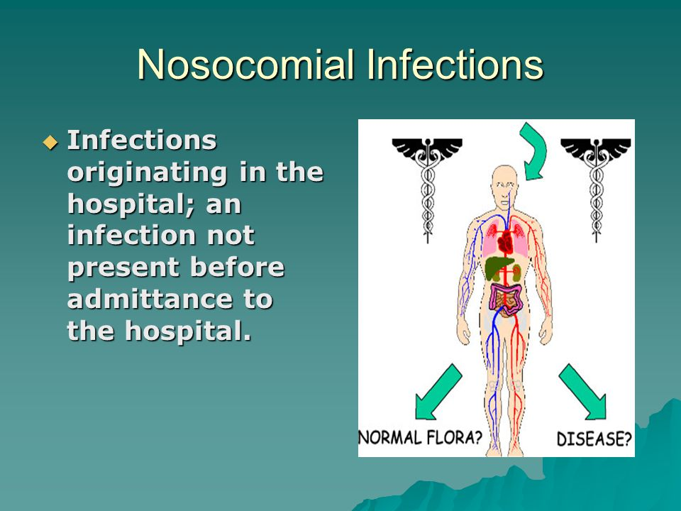 Nosocomial Infections  Infections originating in the hospital; an infection not present before admittance to the hospital.