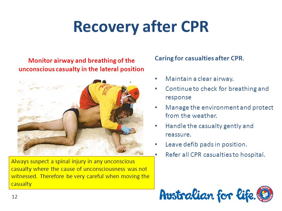 Recovery after CPR Caring for casualties after CPR.
