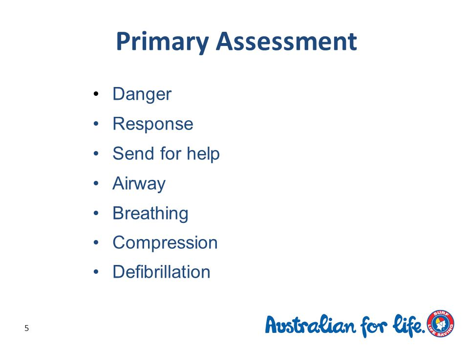 5 Danger Response Send for help Airway Breathing Compression Defibrillation Primary Assessment