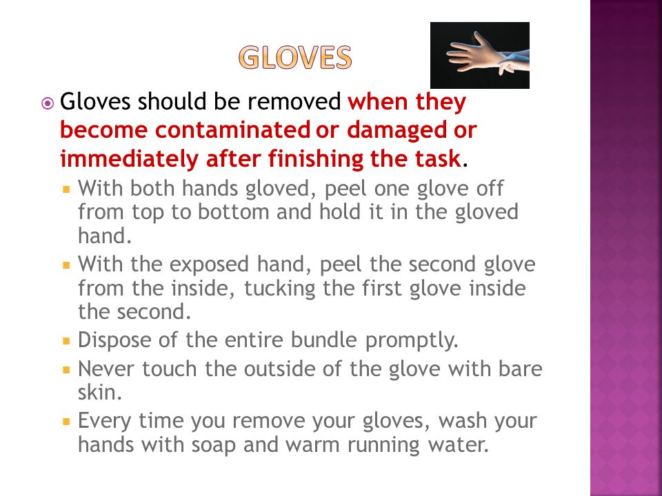  Gloves should be removed when they become contaminated or damaged or immediately after finishing the task.
