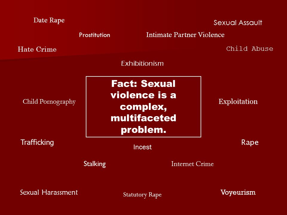 Date Rape Sexual Assault Sexual Harassment Voyeurism Child Pornography Exhibitionism Rape Child Abuse Hate Crime Incest Internet Crime Intimate Partner Violence Stalking Statutory Rape Trafficking Exploitation Fact: Sexual violence is a complex, multifaceted problem.