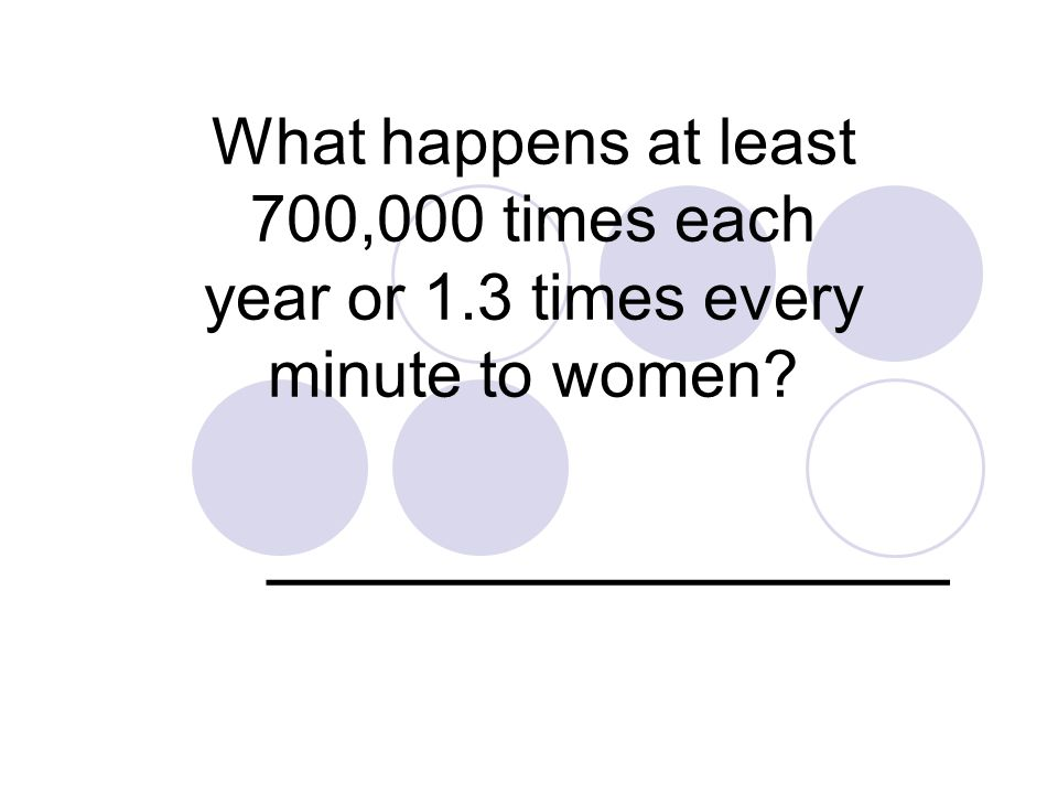 What happens at least 700,000 times each year or 1.3 times every minute to women ______________