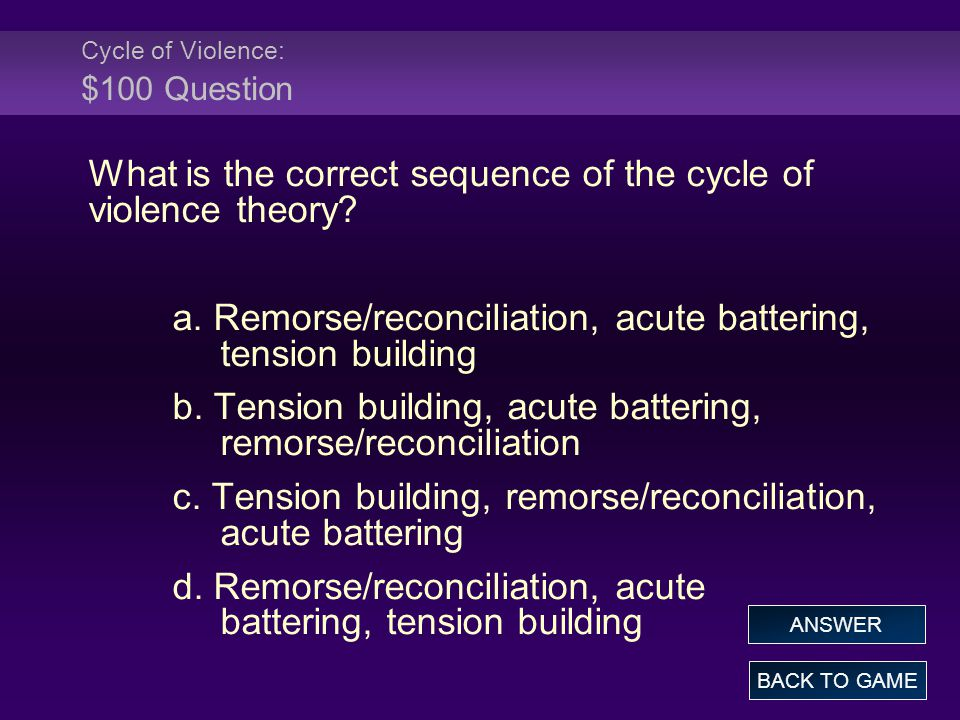 Cycle of Violence: $100 Question What is the correct sequence of the cycle of violence theory.