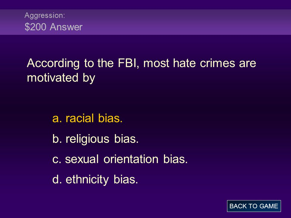 Aggression: $200 Answer According to the FBI, most hate crimes are motivated by a.