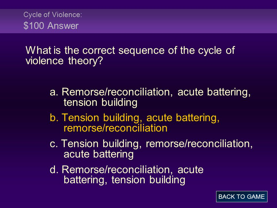 Cycle of Violence: $100 Answer What is the correct sequence of the cycle of violence theory.