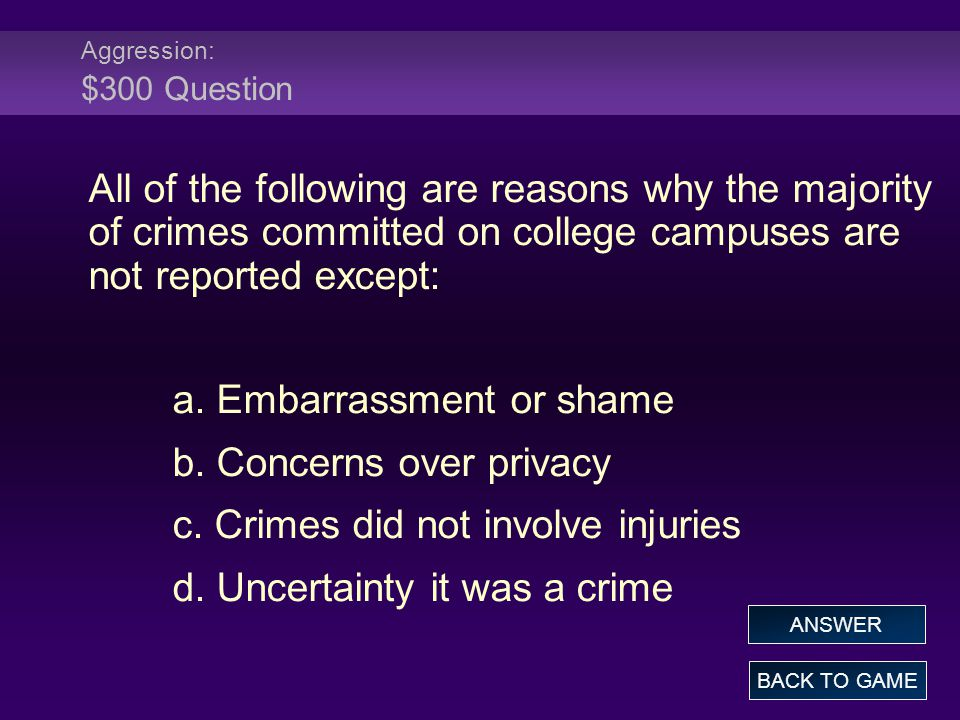 Aggression: $300 Question All of the following are reasons why the majority of crimes committed on college campuses are not reported except: a.