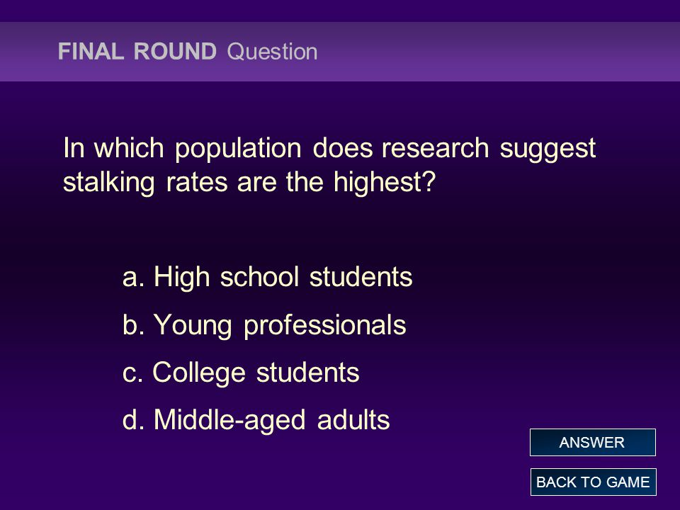 FINAL ROUND Question In which population does research suggest stalking rates are the highest.