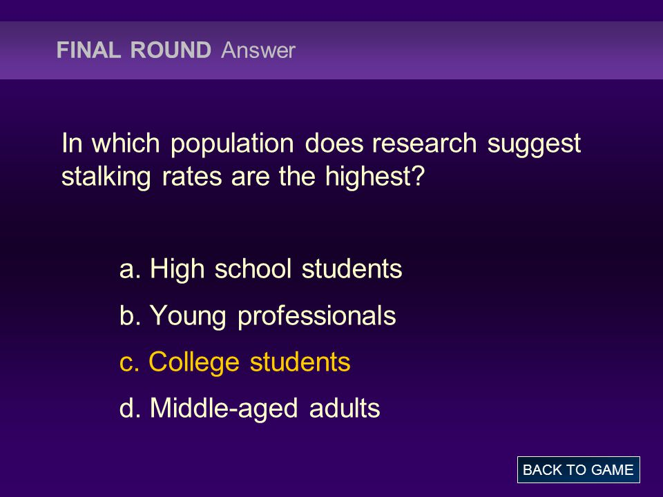 FINAL ROUND Answer In which population does research suggest stalking rates are the highest.