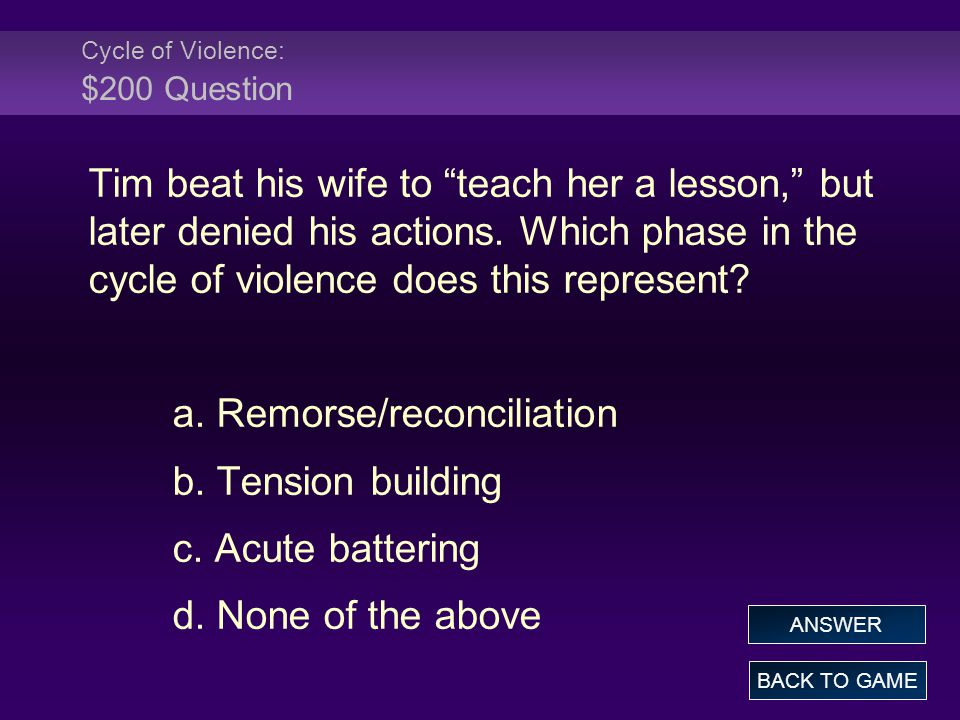 Cycle of Violence: $200 Question Tim beat his wife to teach her a lesson, but later denied his actions.