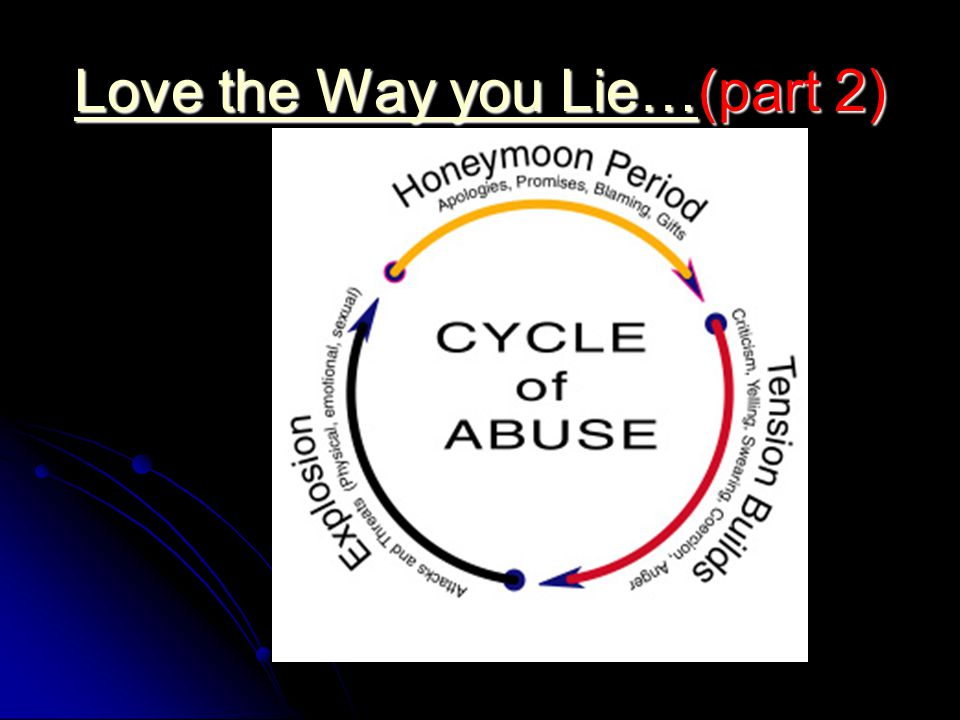 Love the Way you Lie…Love the Way you Lie…(part 2) Love the Way you Lie…