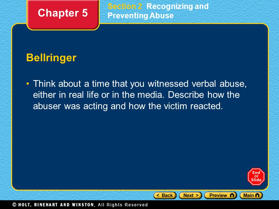 Bellringer Think about a time that you witnessed verbal abuse, either in real life or in the media.